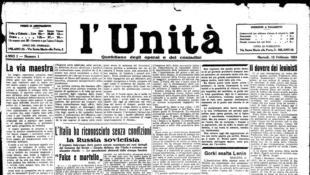 Primo numero dell'Unità