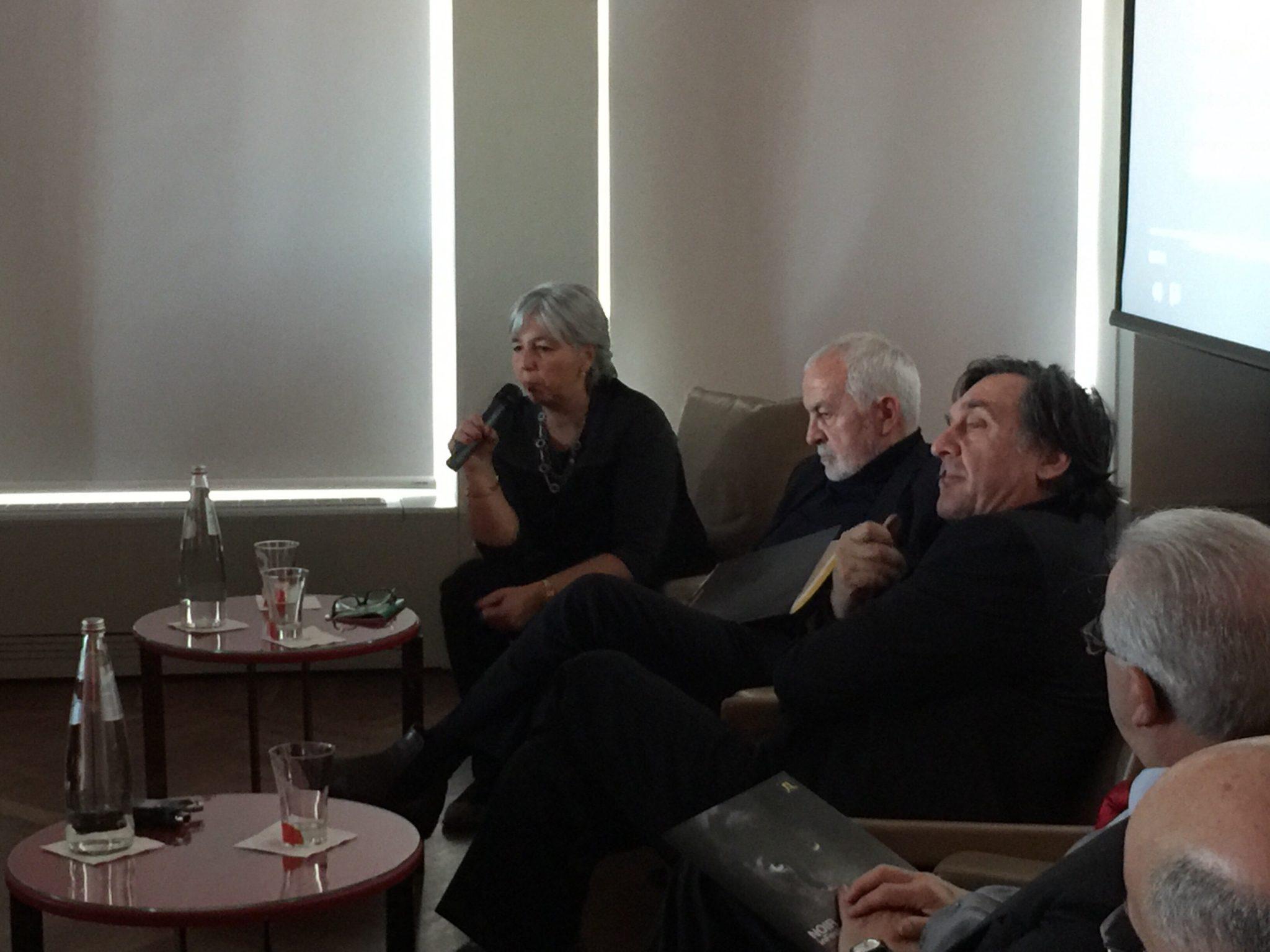 Gianni Canova, Marina Fabbri e Giorgio Canova alla conferenza stampa